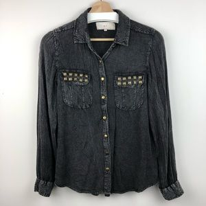 4/$25 W.F. Black Distressed Button Up Studded Top